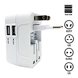 Mystery All in One World Travel International Power Charger Adapter Conversion Plug (Universal Power Plug Adapter) With 2 USB Ports for US/ UK/ EU/ AU, fits MP3/ Camera/ GPS and Cellphones (White)