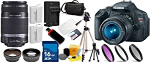 Canon EOS Rebel T3i SLR Digital Camera Kit w/ Canon 18-55mm IS Lens + Canon 55-250mm IS Lens + Huge Accessories Package Including Wide Angle Macro Lens + 2x Telephoto Lens + 3 Pc Filter KIT + 16gb Sdhc Memory Card & Much More!!