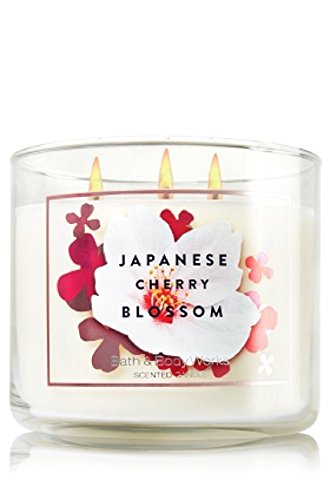 Bath & Body Works Signature Collection Saltkin & Co Japanese Cherry Blossom 3 Wick Scented Candle 14.5 Oz Blossom Bath Collection