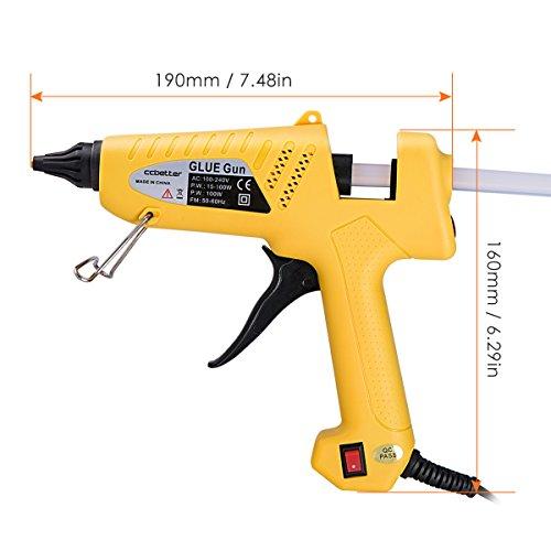 Hot Glue Gun , CCbetter 100W Hot Melt Glue Gun Adjustable High Temperature Melt Adhesive Glue Gun with 10 pcs Glue Sticks for DIY, Craft, Sealing, Repairs, Light and Heavy Duty, Yellow