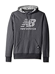 New Balance Men\'s Essentials Plus Pullover Hoodie, Heather Charcoal/Reflective, Large