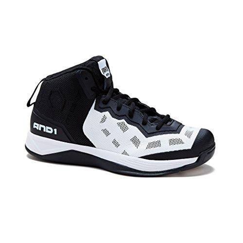 AND1 Mens Fantom Basketball Shoe 11 Black/White