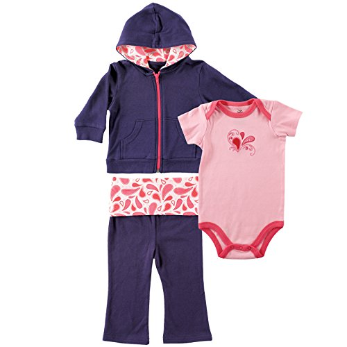 Yoga Sprout Baby-Girls Paisley Collection Hoodie Bodysuit and Pant Set, Navy/Pink, 0-3 M