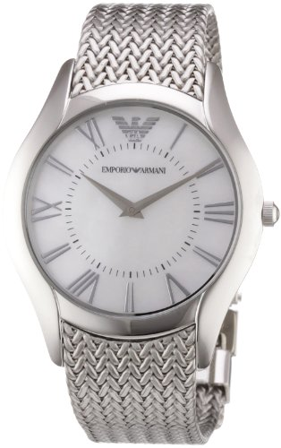 Emporio Armani Ladies AR2025 Classic Watch Stainless Steel Mesh Bracelet Round Case with White Dial