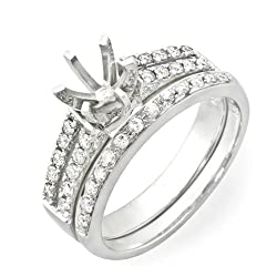 14k White Gold 0.48 ctw Diamond Mount Engagement Bridal Ring Set