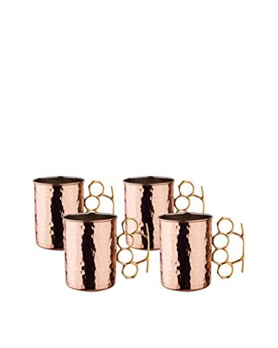 Old Dutch Set of 4 Brass Knuckle Hammered Copper 20-Oz. Moscow Mule Mugs