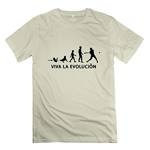 Zhitian Men'S Viva La Evolution Baseball T-Shirt - S Natural
