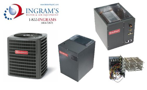 Goodman R410A 16 SEER Complete Split System Heat Pump 5 Ton 2 Stage, DSZC160601, CAPF4961D6, MBVC2000AA, TX5N4 (Upflow/Downflow Coil) (R410a Split System compare prices)