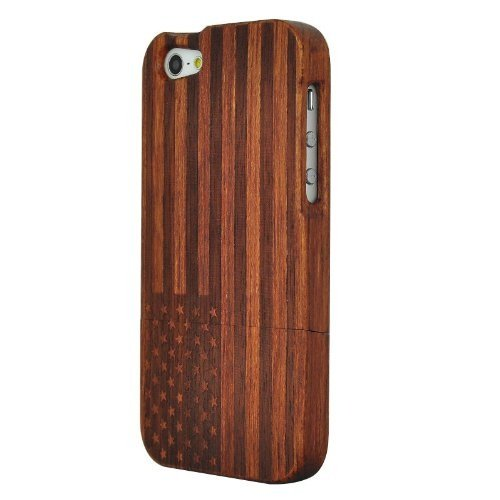 Unique Handmade Natural Wood Wooden Hard bamboo Case Cover for iPhone 5 with free screen protector(Rosewood-The Stars and Stripes)