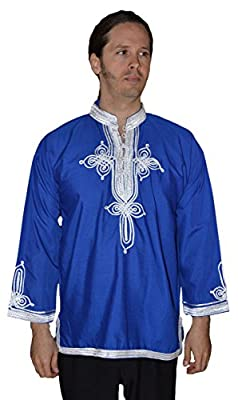 Marrakesh Men Tunic Caftan small To Medium Blue With Tread Embroidery
