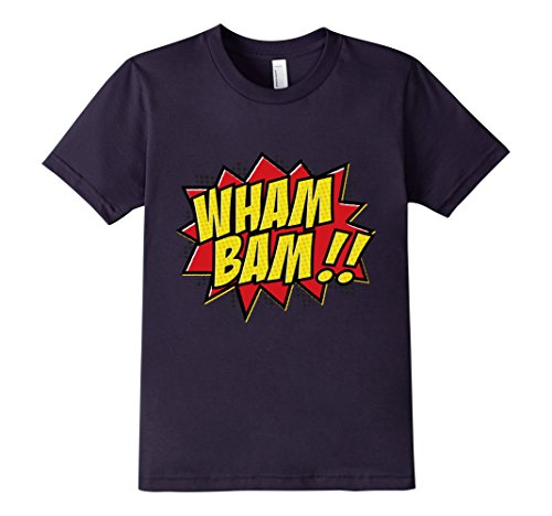 Kids-EmmaSaying-Wham-Bam-Pop-Art-Retro-Teen-Bazooka-Style-Shirt-Navy