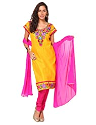 Utsav Fashion Women's Yellow Cotton Silk Readymade Churidar Kameez-X-Large