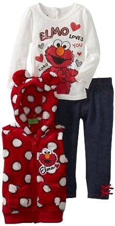 Sesame Street Little Girls' 3 Piece Elmo Loves You Polka Dot Vest Set, Medium Red, 2T