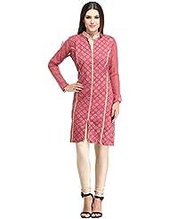 Full Sleeves Mandarin Collar V Neck Block Printed Cotton Fabric Stitched Multi Purpose Multi Occasional Magenta...