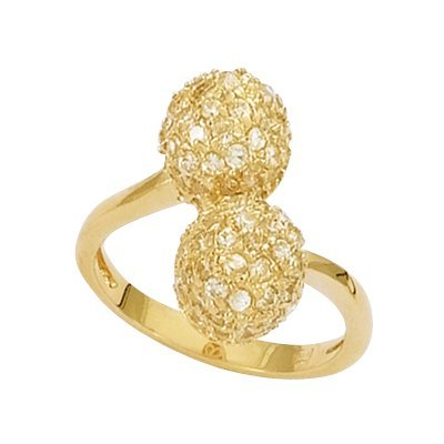 18K Gold Plated Clear Cubic Zirconia 2 Balls