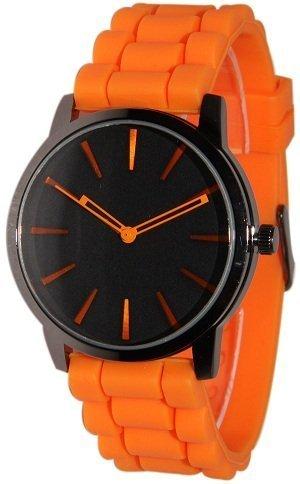 geneva-naranja-w-negro-de-silicona-jelly-reloj