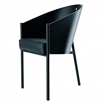 Costes Armchair black mahagony/wood/frame black/leather seatcushion