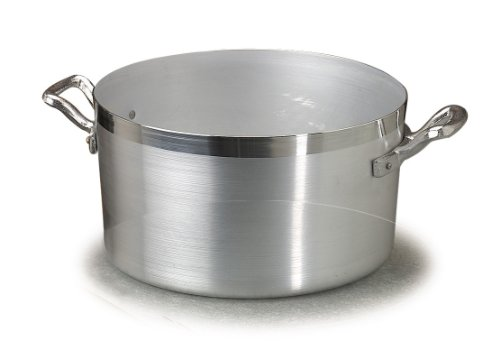 Pentole Agnelli Casseruola Alta in Alluminio BLTF, con 2 Manici in Acciaio Inossidabile, Argento, 4.5 Litri