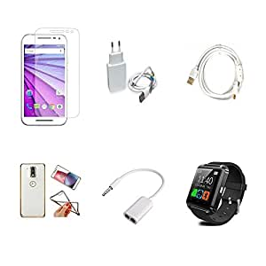 High Quality Combo of Moto G3 Temper Glass + 1 Amp USB Charger + Fast Charging Cable + Attractive Back Cover (Transparent Back with Golden Border) + Audio Splitter Cable