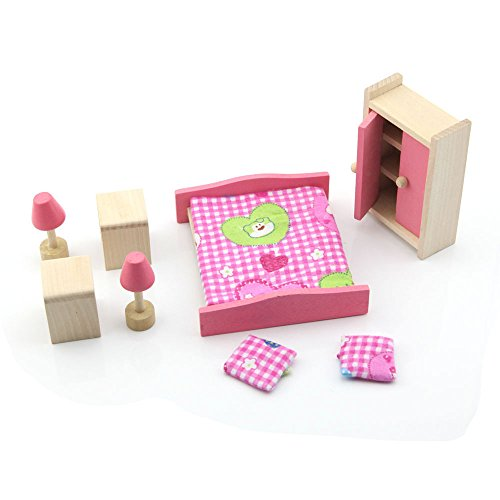 Owfeel-Miniature-Wooden-Bedroom-Furniture-Set-Toys-for-Kid-Children-Pink