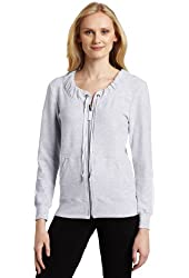 Dearfoams Women's Gather Neck Zip Pajama Top