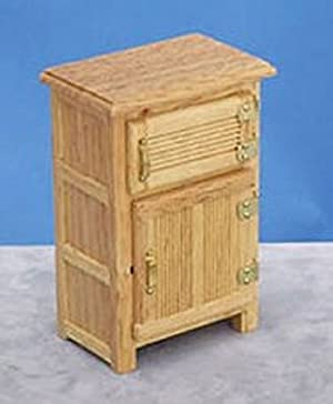 Dollhouse Miniature Oak Wood Vintage IceBox or Refrigerator