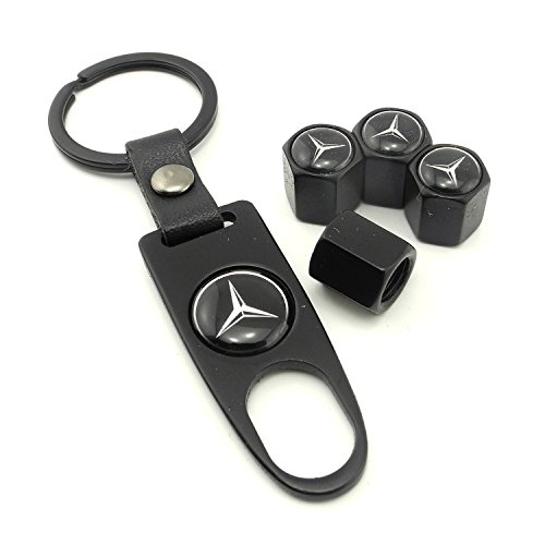 iDoood High Quality Steel Car Air Tire Valve Caps and Black Keychain Combo Set for Mercedes Benz (Mercedes Benz Ring compare prices)