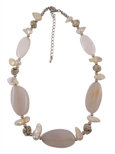 Champagne Colored Stone and Pearl Necklace