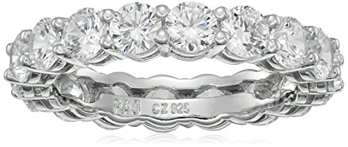 Platinum Plated Sterling Silver Round Cubic Zirconia All-Around Band Ring, Size 8 (All Rings compare prices)
