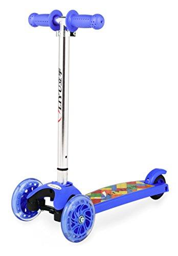 Mini Kick Monopattino 3Ruote, Regolabile in Altezza con PU lampeggiante ruota per bambini, Navy Blue