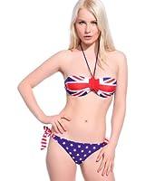Maillot de bain Bikini Bondeau 2 piece Drapeau anglais UK taille L(38-40) amartures neuf