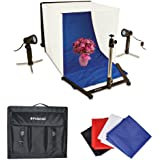 Polaroid Table Top Portable Photo Studio Light Tent Kit, Includes 1 Tent, 2 Lights, 1 Tripod Stand, 1 Carrying Caes, 4 Backdrops (Black, Blue, White, Red)