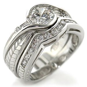 2.25 ct Brilliant Round Cubic Zirconia cz Bridal Wedding Ring Set Rhodium Gold-plated (5)