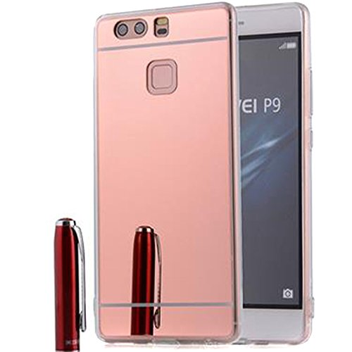 Semoss Ultra Slim Thin Mirror Case for Huawei P9 Lite TPU Protective Back Bumper Case Cover Rose