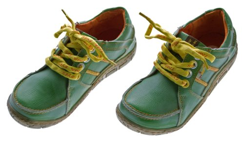 Leder Damen Halb Schuhe Comfort Sneakers Used Look Grün TMA Eyes Gr. 36