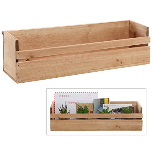 MyGift Country Rustic Wall Mounted / Tabletop Multipurpose Home Storage Box Shelf, Unfinished (Wood Shelves Wall Mounted compare prices)