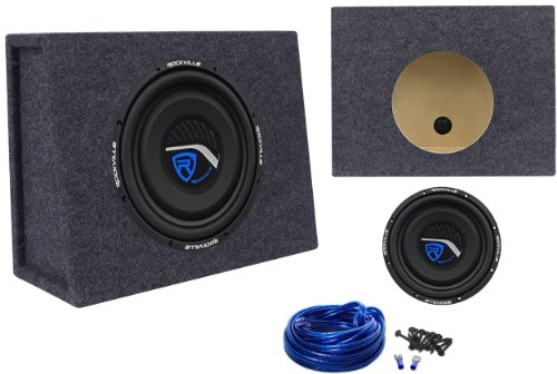 "Package: Rockville W10T3-S2 10"" 800W Peak/400W Rms Cea-2006 Compliant 2-Ohm Shallow Mount Car Subwoofer + Rockville Rsst10 Single 10"" 0.9 Cu. Ft. Sub Encloure Box + Single Enclosure Wire Kit With 14 Gauge Speaker Wire + Screws + Spade Terminals"