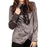 ダンディズムを楽しむなら シャニーストライプシャツ p167 ゴスロリ ロリータ パンク コスプレ コスチューム メイド 黒 m