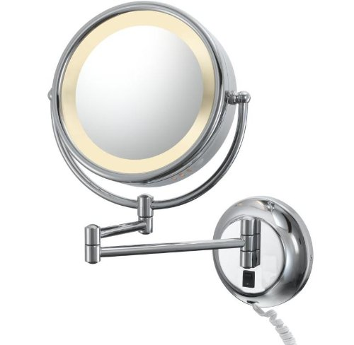 Kimball & Young 95345 Double-Sided Wall Plug-In Mirror With Chrome Frame, 8.75-Inch front-728426