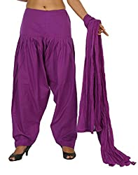 Yashka Women's Cotton Patiala Dupatta Set (YASHKA 7297_Purple_Free Size)