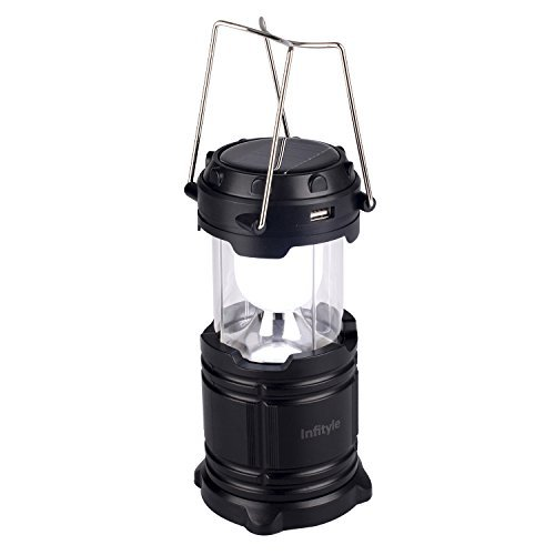 Camping Lantern - LED Solar Rechargeable Camp Light Flashlights - Emergency Lamp - Power Bank for Android Cell Phone IOS Iphone - Black (Solar Powered Portable Cooler compare prices)