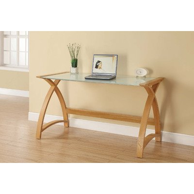 Curve Laptop / Work Table in Oak and White Glass
