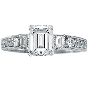 1.28 Carat GIA Certified Emerald Cut / Shape 14K White Gold Gorgeous Prong Set Round And Half Bezel Baguette Diamond Engagement Ring ( E Color , VVS2 Clarity )
