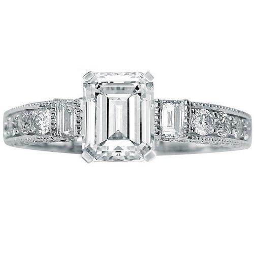 1.59 Carat Emerald Cut / Shape 14K White Gold Gorgeous Prong Set Round And Half Bezel Baguette Diamond Engagement Ring ( J Color , Vs1 Clarity ) - Size 6