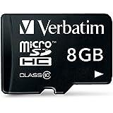 Verbatim Scheda di Memoria Micro-SD da 8 GB con Adattatore, Classe 10, Nero