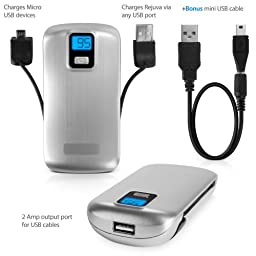 BoxWave Rejuva Power Pack Pro Power Bank - Compact, Portable 4,400 mAh Rechargeable Li-ion Battery Charger and Power Bank - Compatible with Apple iPhone 5, iPhone 6, iPad 3, iPad 4, iPad Air, Samsung Galaxy S4, Galaxy S5, OnePlus One, and many more! (Silv