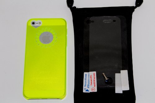 "(Neon Yellow) Lovely Heart Iphone 5 Clear Transparent Plastic Snap-On Back Case Cover -- (Bonus: ""Clear Front And Back Reusable Lcd Screen & Back Panel Protectors"" + ""Diamond Earpiece Dust Plug"" + ""Dust Bag Pouch"") --"