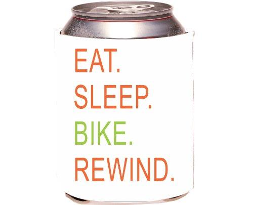 Rikki Knighttm Eat Sleep Bike Rewind Orange & Green Design Drinks Cooler Neoprene Koozie front-568280