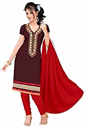 Rk The Fashion Women's Cotton Unstitched Dress Material (RK-FS-404_Brown_Free Size)