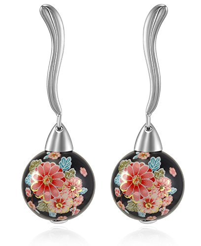 "Lanfeny ""Exotic Garden"" Sterling Silver Curved Ball Earrings Multicolor Flower"